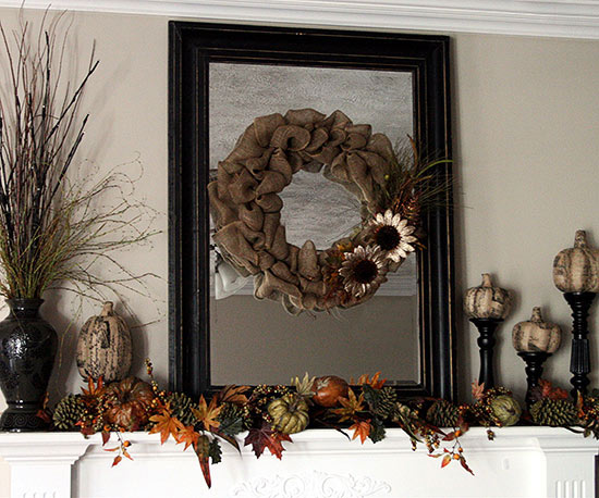 Fall Mantel with Burlap Wreath