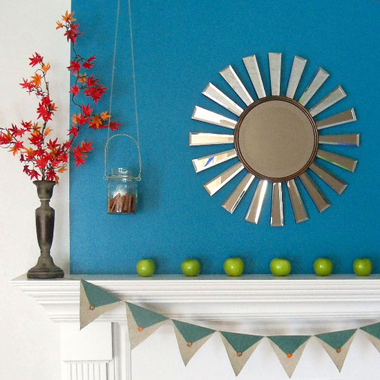 Bright and Simple Fall Mantel