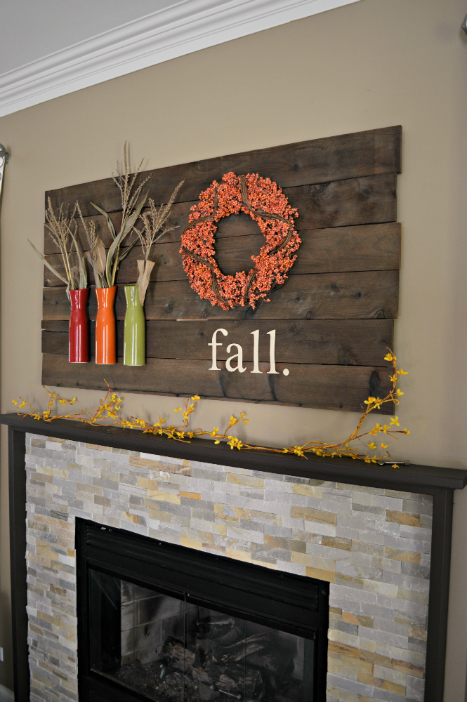 Simple Mantel with Bold Vases and Wreath