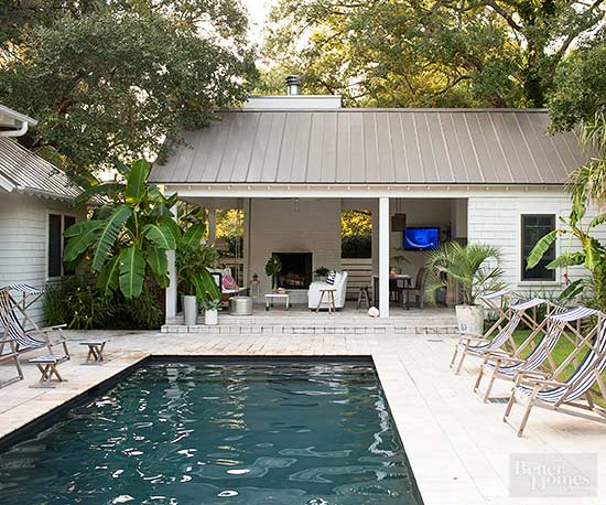 outdoor space with pool