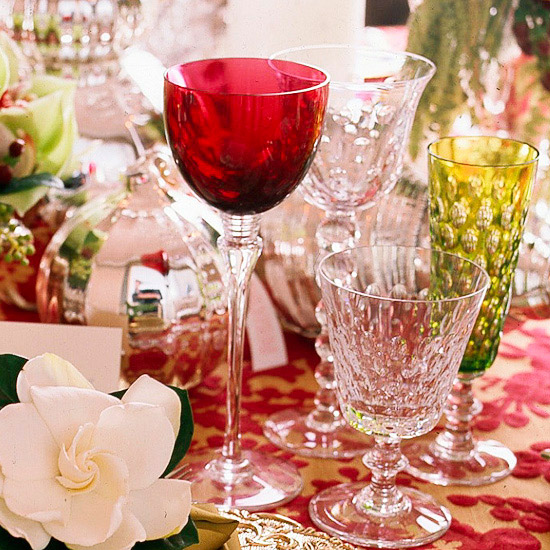 Green, red, and gold Christmas table setting