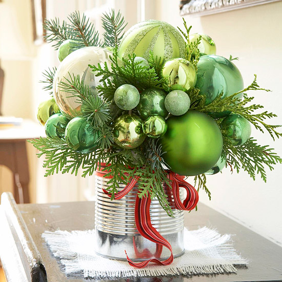 Green, red, and silver ornament bouquet
