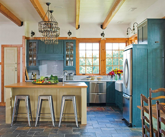 Blue-green cabinets