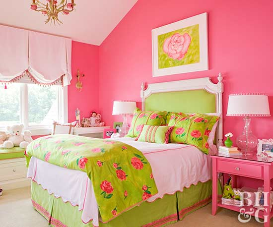 pink and lime green kid's bedroom