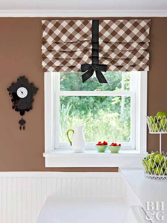 plaid pleated valance with bow