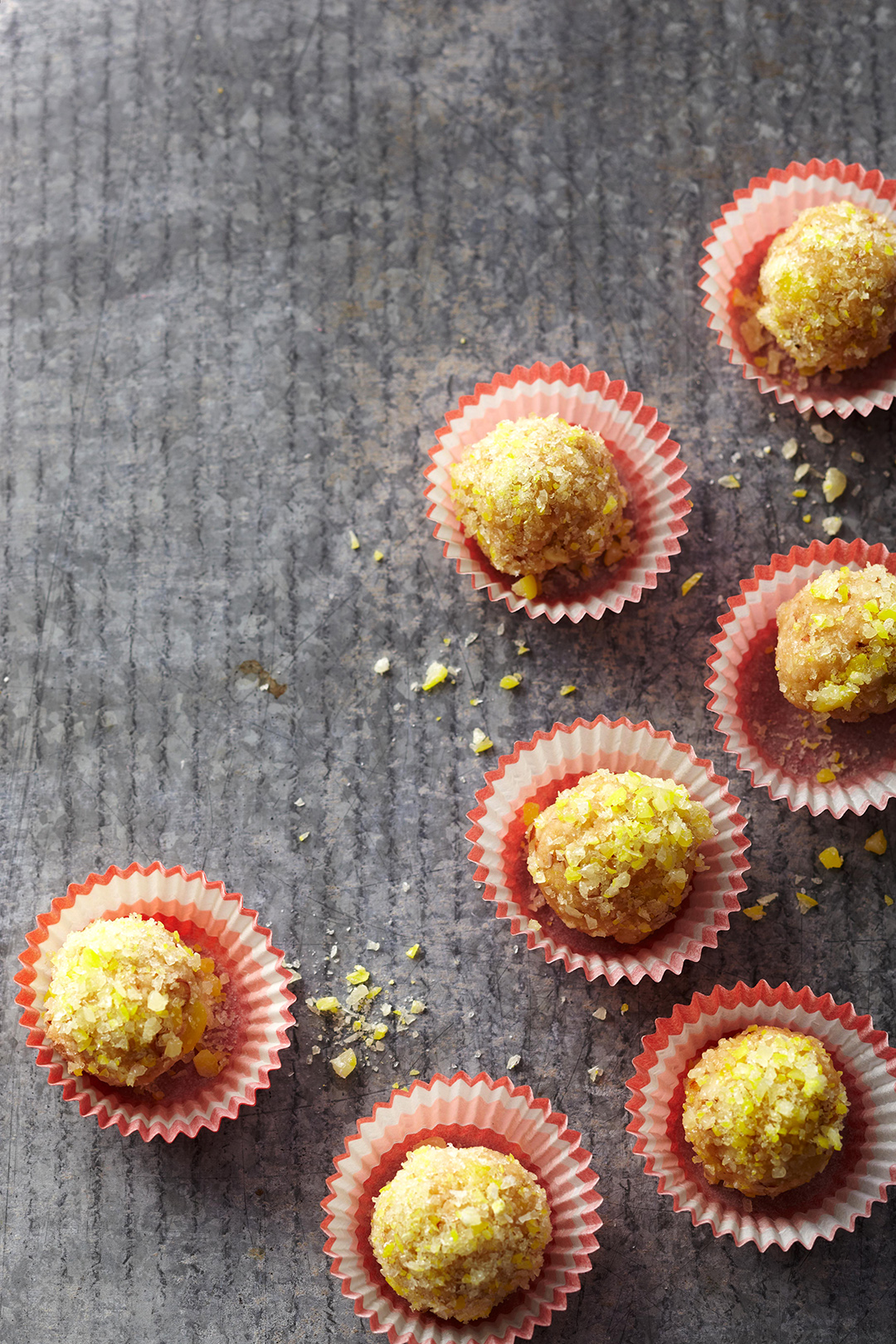 No-Bake Lemon Drops in red muffin liners