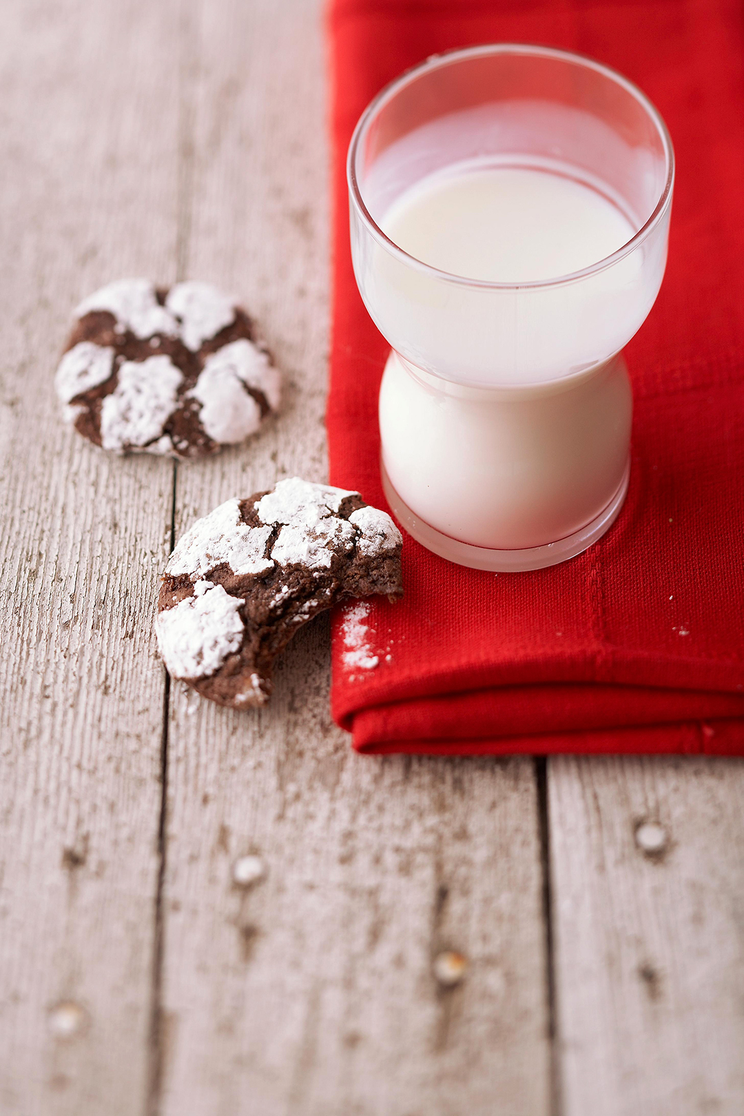 Chocolate Crinkles and a glass of milk