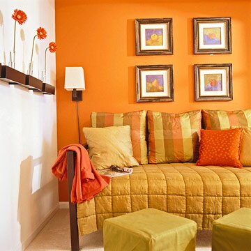 0d2c658cda9 Create a focal point wall in the basement by painting it a bold