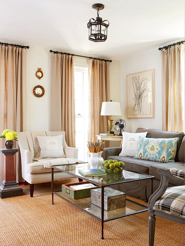 Traditional Living Room Sitting Area With Neutral Tones