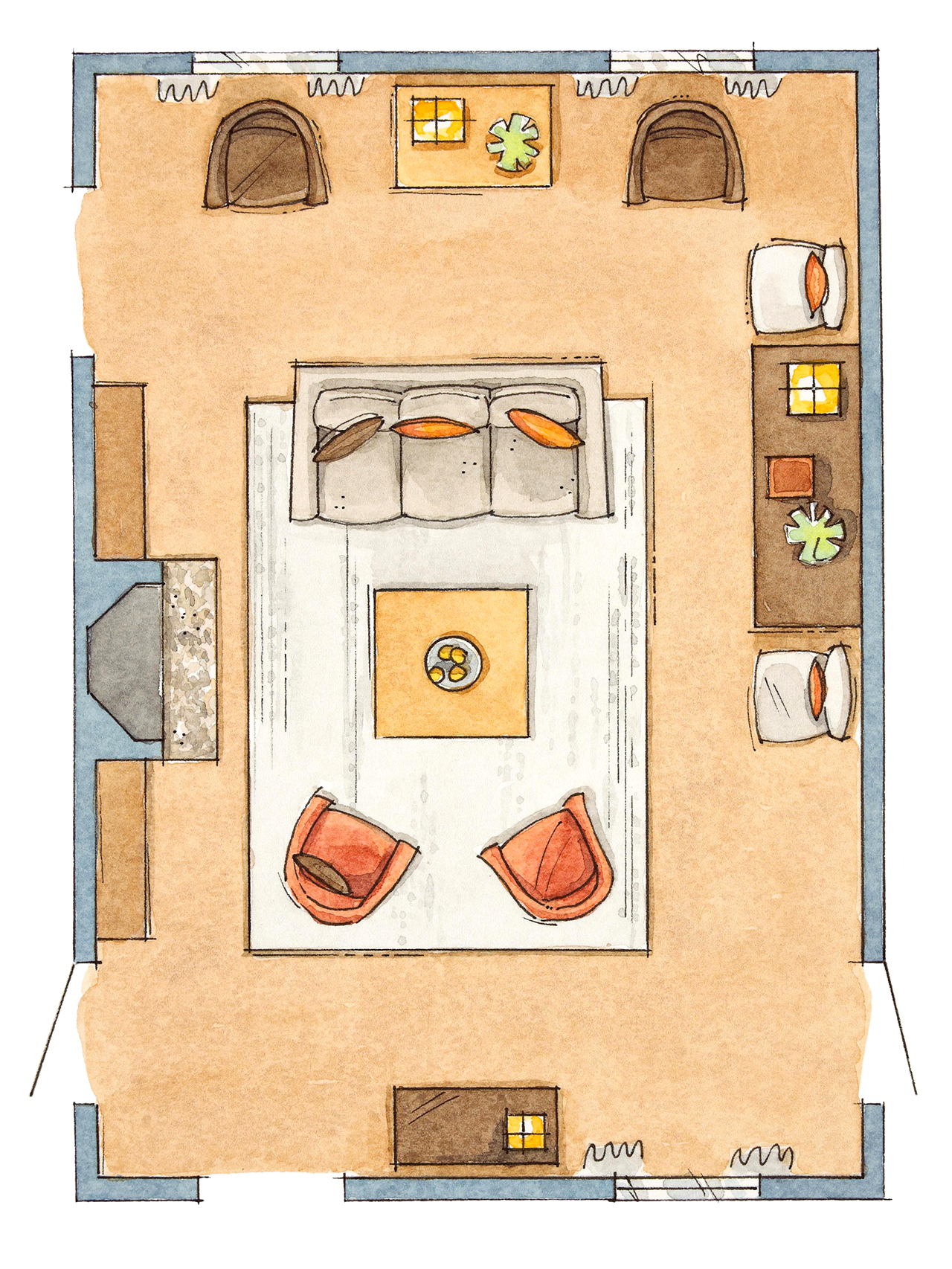 floor plan of rectangular room with floating furniture