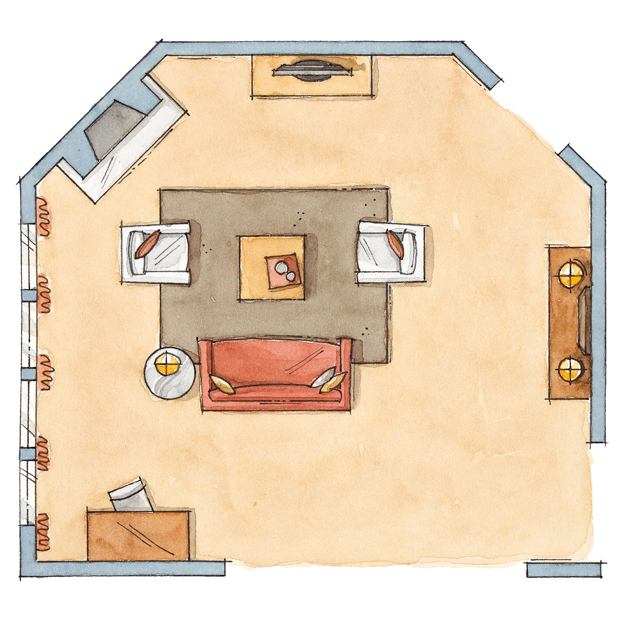 floor plan of irregularly shaped room with furniture