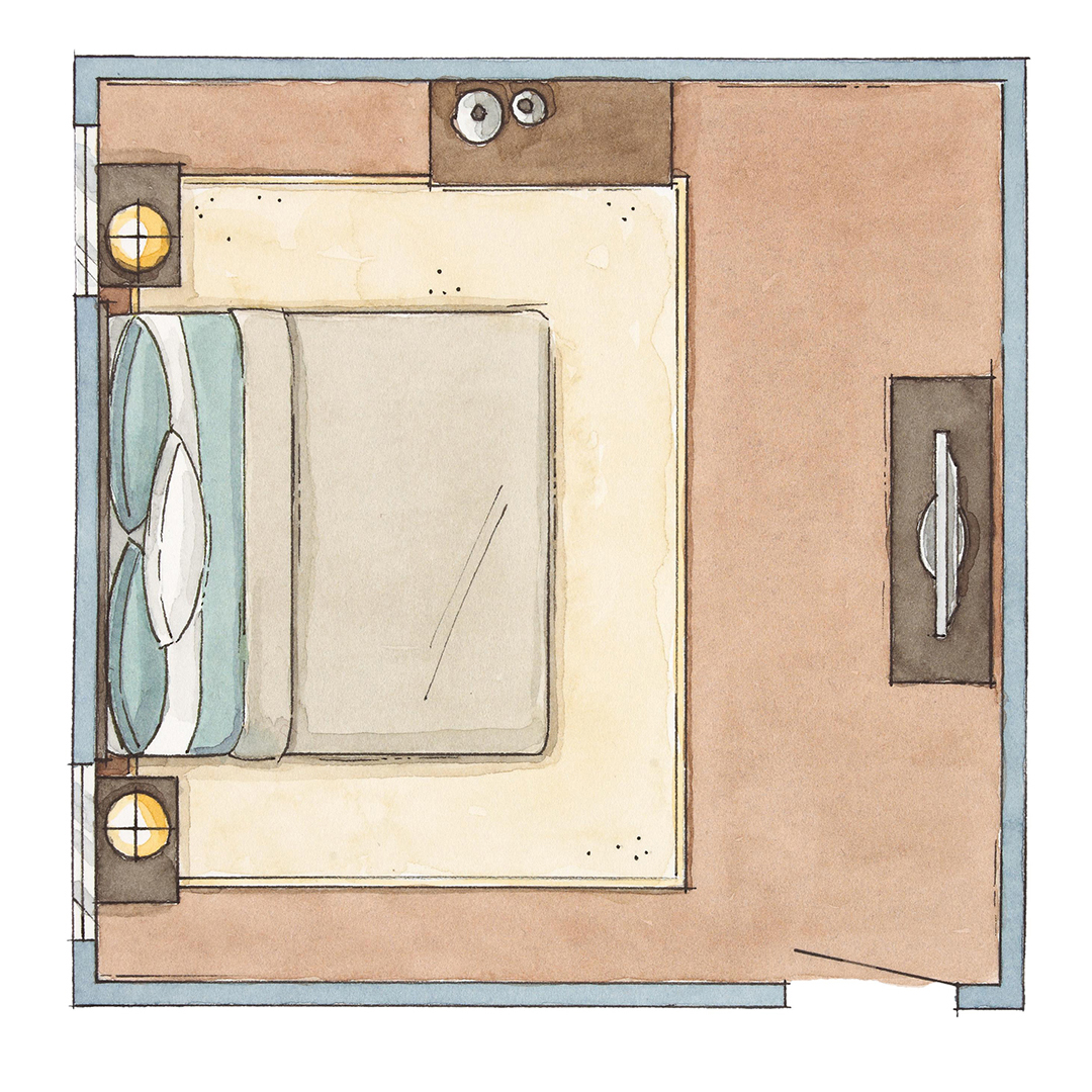 bedroom furniture arrangement square illustration