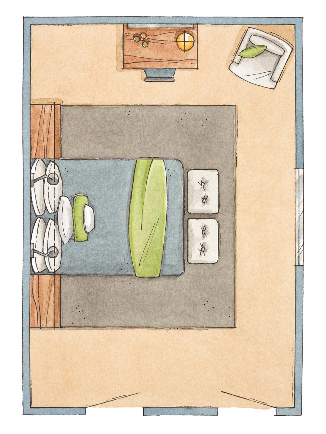 bedroom furniture arrangement window wall illustration