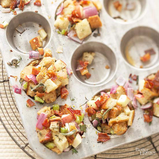 Apple, Bacon, and Onion Stuffing Muffins