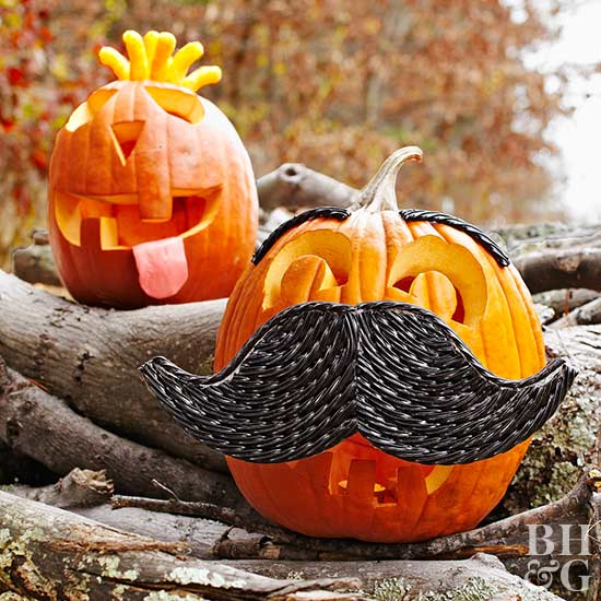 pumpkin with mustache, pumpkins, Halloween