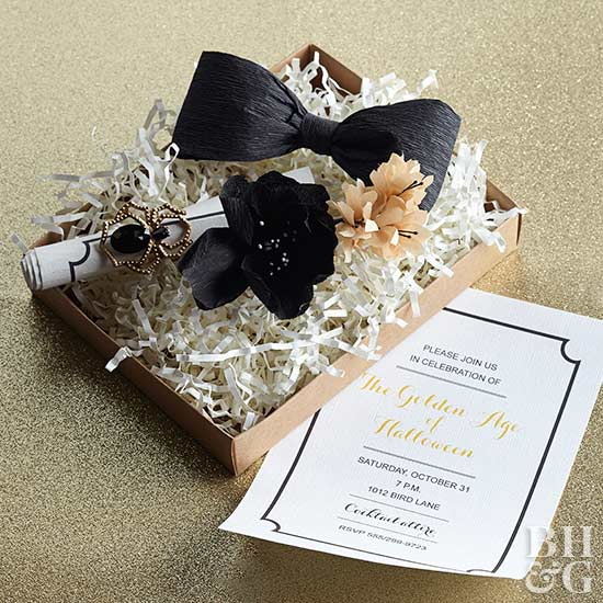 Halloween party invitation, invitation, halloween, black bow, box, Halloween Tricks and Treats, Puttin' on the Glitz