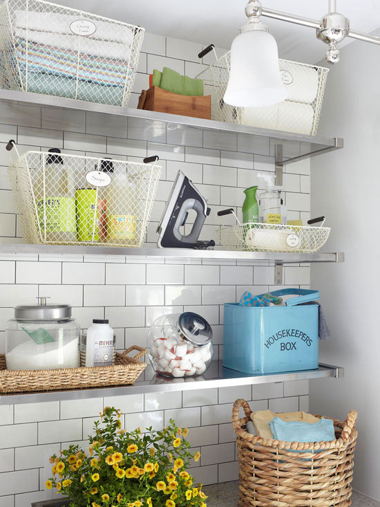 Laundry room shelves, baskets