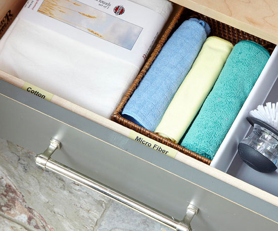 Drawer divider, cleaning supplies