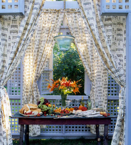 White Lattice and Wood Table