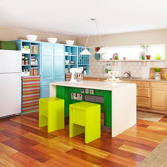 Kitchen with lime green stools