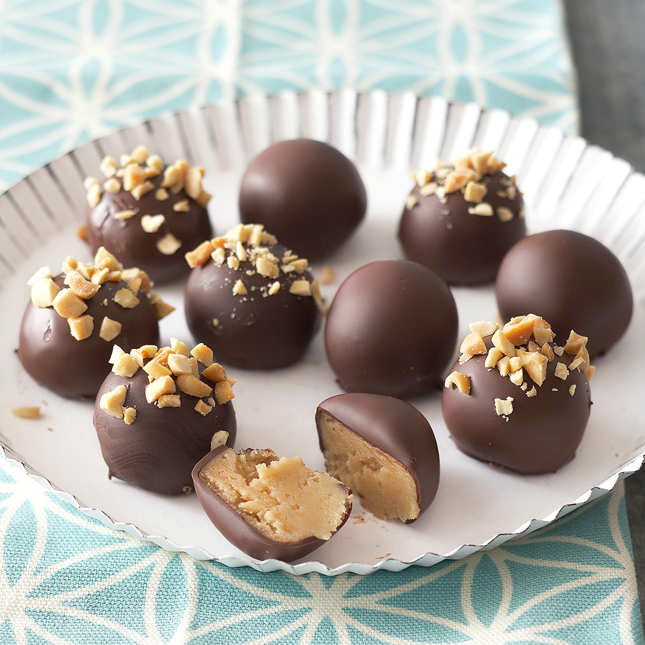 truffles with peanut butter on plate