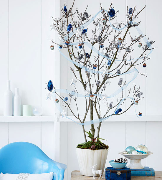 Blue and Silver Tabletop Christmas Tree