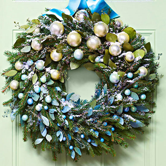 Blue and Silver Christmas Balls Wreath