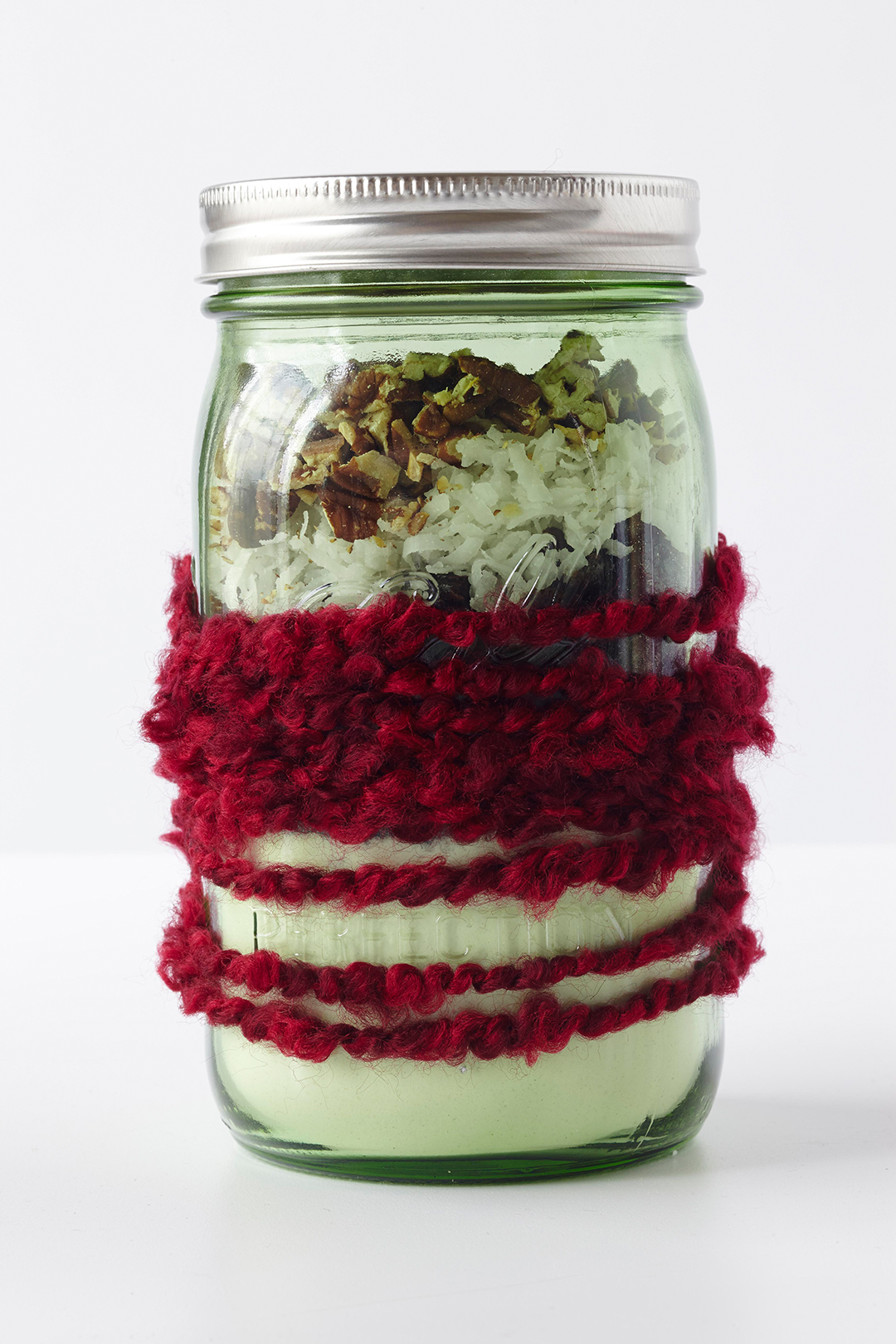 Milk Chocolate-Cherry Cookie Mix in jar with red yarn