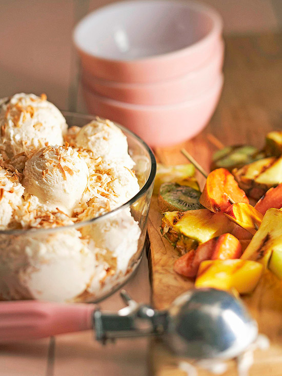 Grilled Pineapple Skewers with Ice Cream