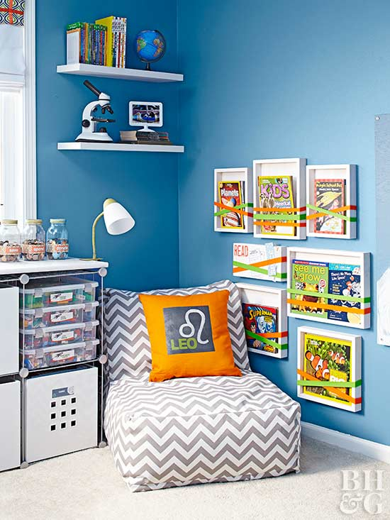 blue bedroom with book storage