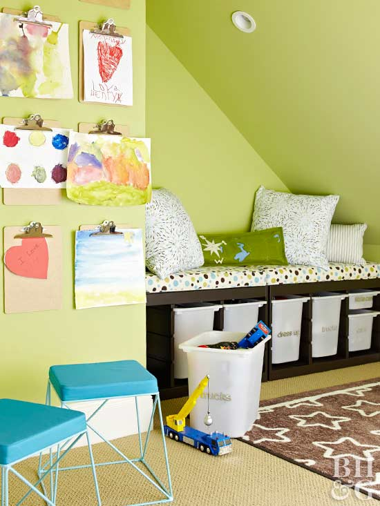 green playroom with storage bench