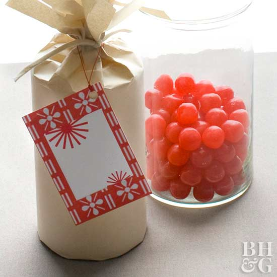Gift Tag with Red Patterned Background