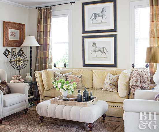 sitting area with tufted ottoman