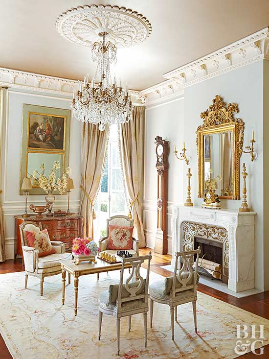 elegant living room with crown molding