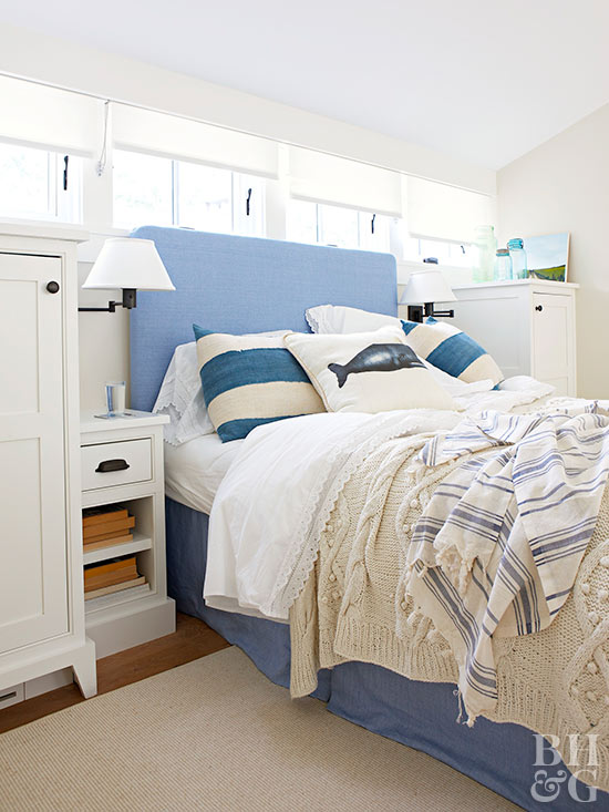 white and blue bedding accents