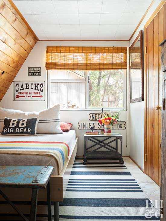 camp-inspired bedroom