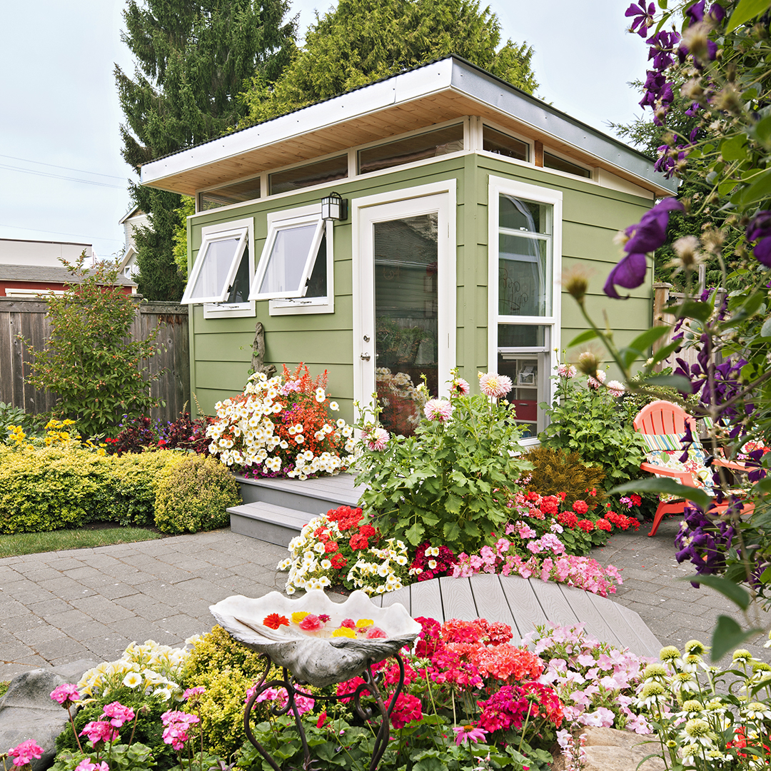 shed done in modern style surrounded by flowers
