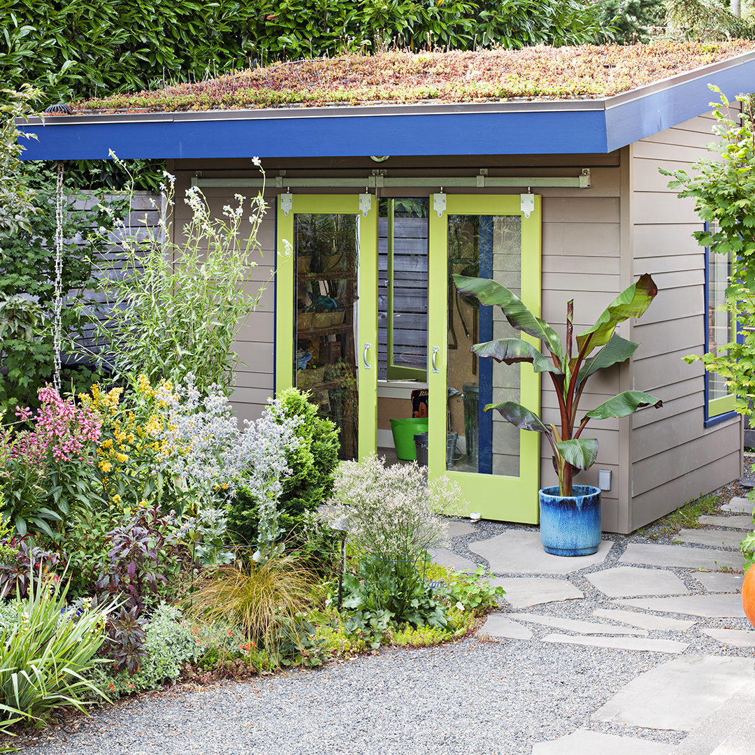 garden shed with living roof