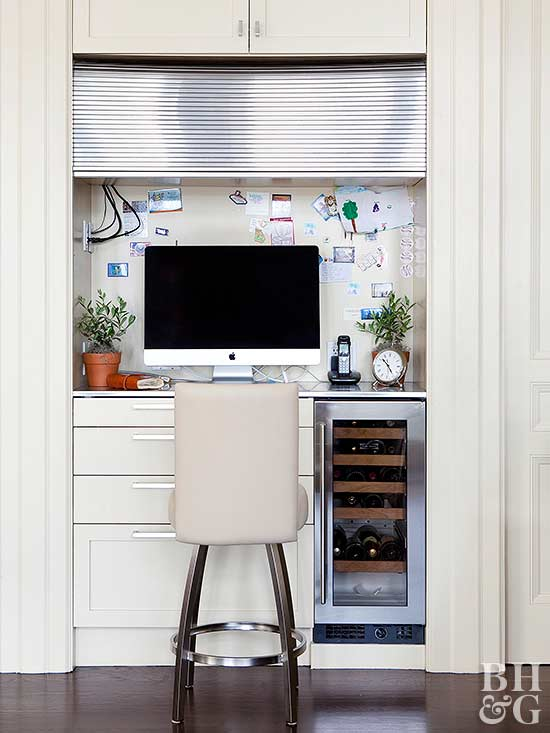 small kitchen office with white chair
