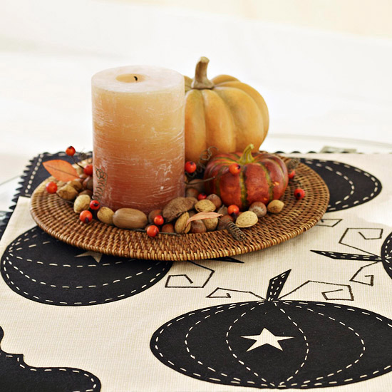 Candle and pumpkin decoration