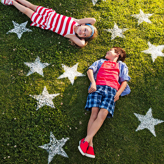 Painted stars in grass