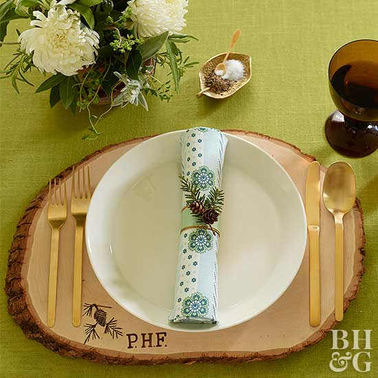 napkin holder and place setting
