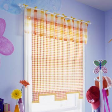 orange and yellow plaid fabric shade in kids room