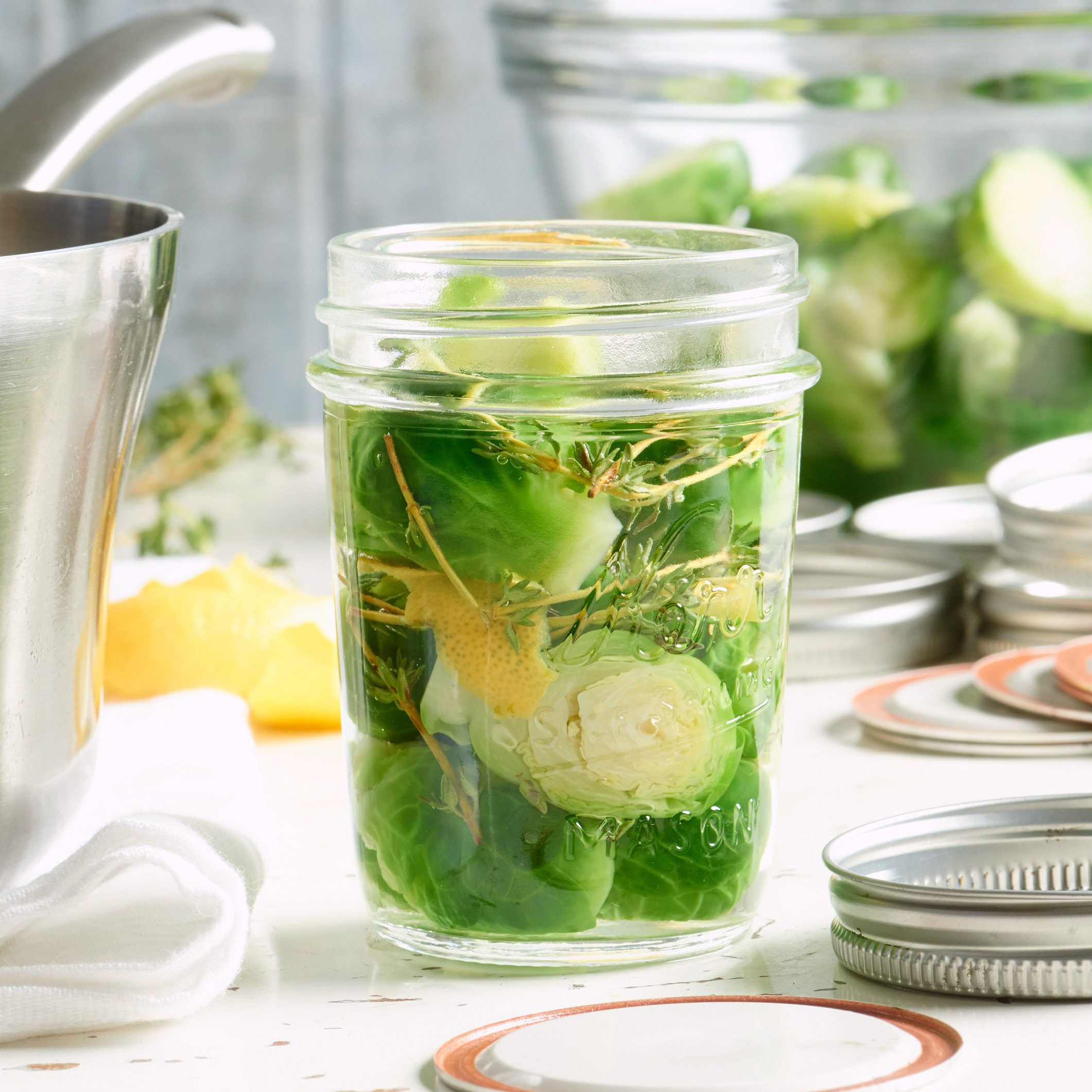 pickled lemon-thyme brussels sprouts in mason jar