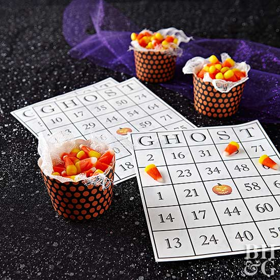 halloween bingo cards with candy corn