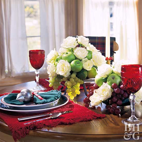 centerpiece with green apples and white roses