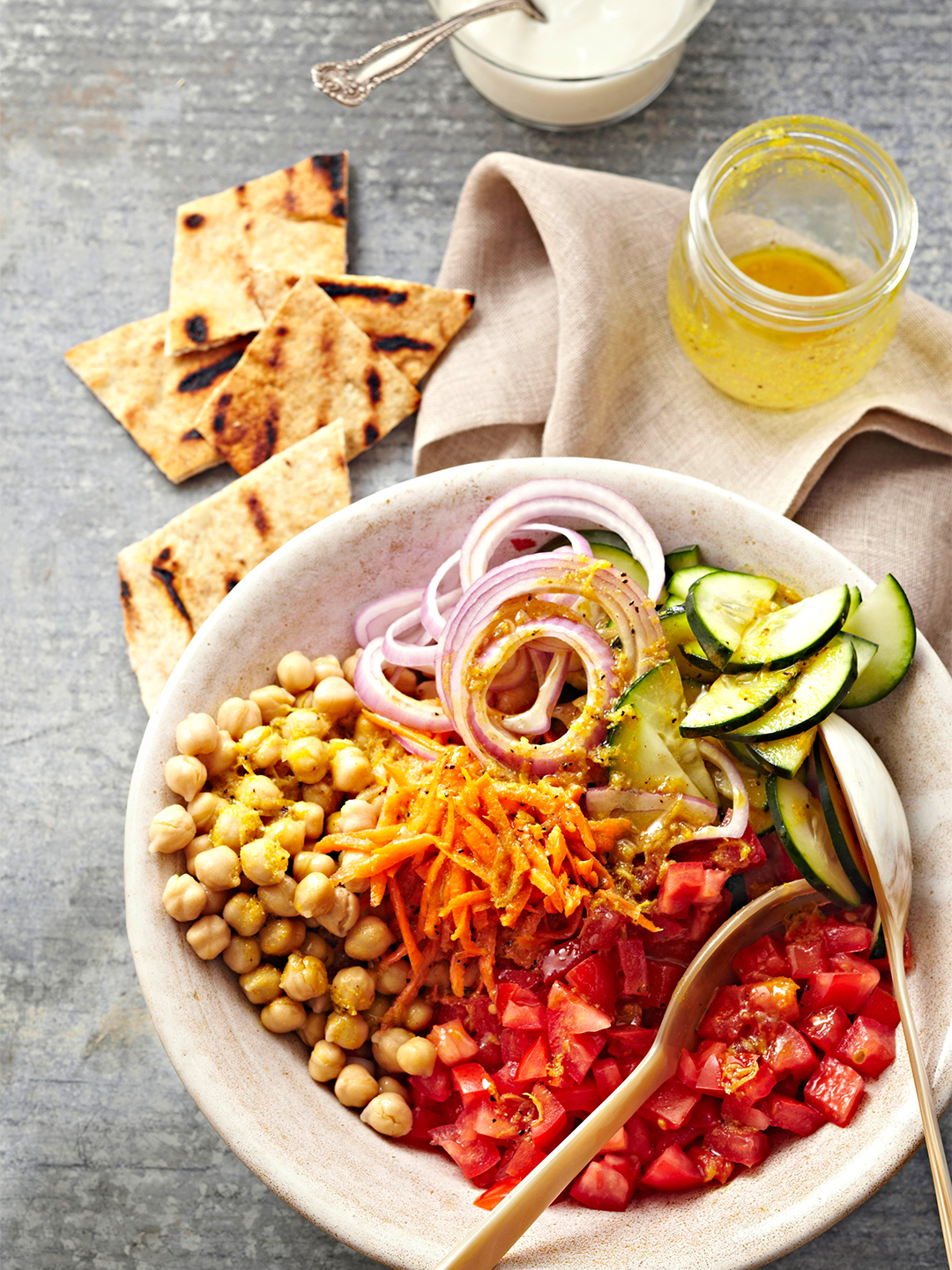 Indian Garbanzo Bean Salad with tomatoes, cucumbers, onions
