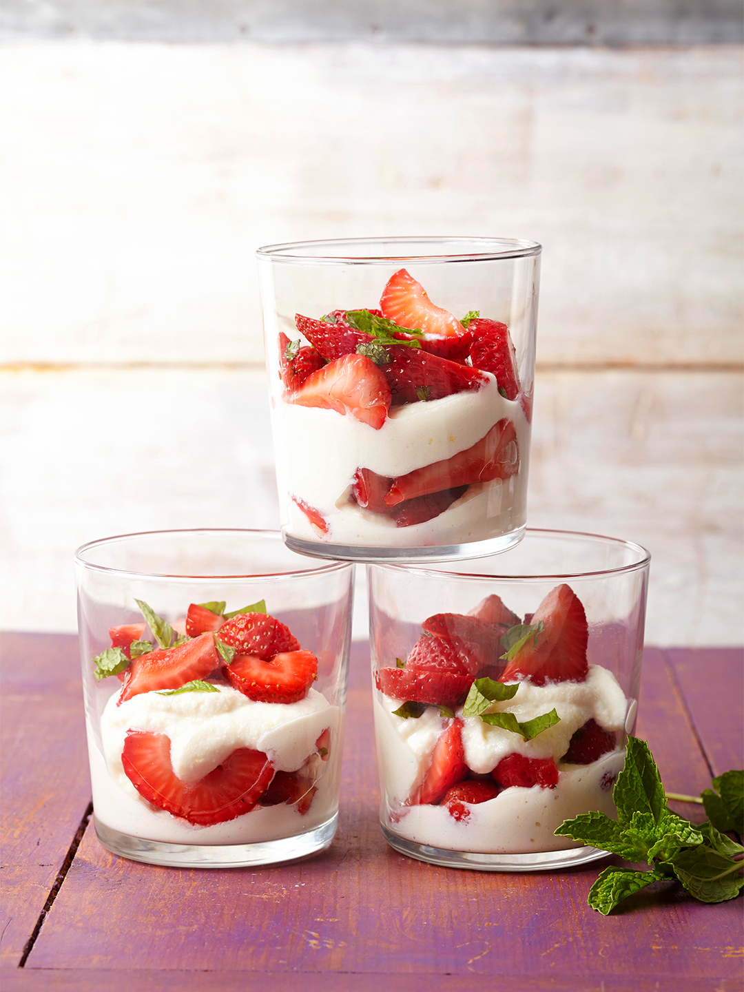 Sweet Ricotta and Strawberry Parfaits in glass jars