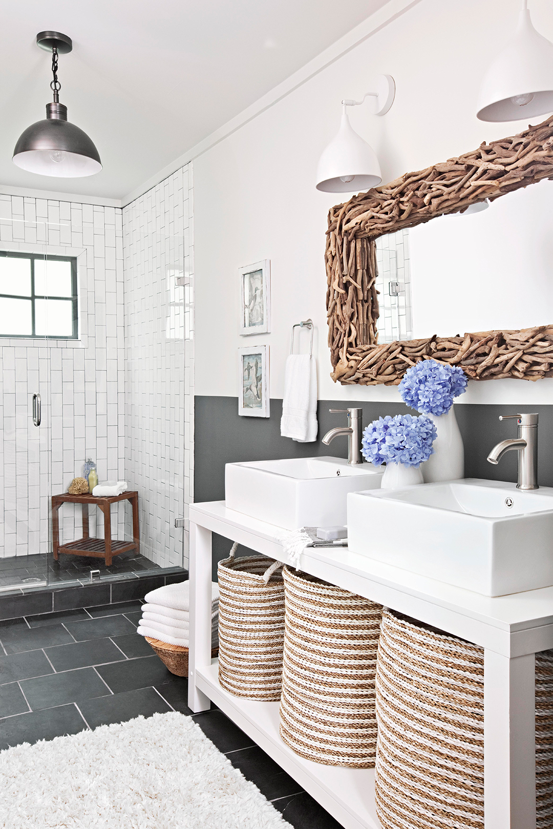 clean white bathroom walls and charcoal tile floor