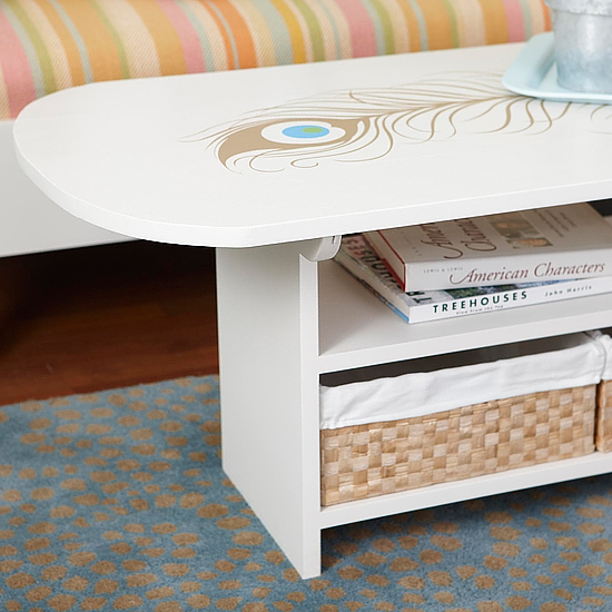 White coffee table with feather design